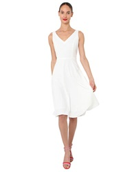 Isaac Mizrahi V Neck Fit And Flare Dress White