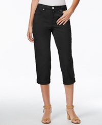 Styleandco. Style And Co. Tummy Control Cuffed Capri Jeans Deep Black