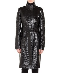Akris Punto Stand Collar Button Front Crocodile Embossed Patent Faux Leather Coat Black