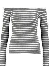 Bailey 44 Jacqueline Off The Shoulder Striped Jersey Top Gray