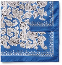 Etro Printed Silk Twill Pocket Square Blue