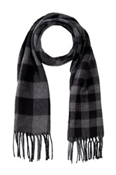 Amicale Gingham Double Face Scarf Black