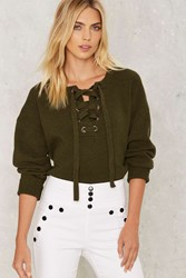 In The Thick Of It Lace Up Sweater Green