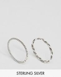 Kingsley Ryan Rope Band Ring And Twisted Rope Midi Ring Pack Silver