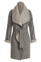 Vince Wool Coat With Leather Trim Brown