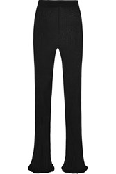 Balmain Ribbed Stretch Jersey Flared Pants Black