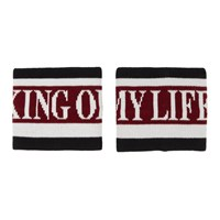 Dolce And Gabbana Red Black 'King Of My Life' Cuffs