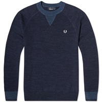 Fred Perry Budding Yarn Tipped Sweater Vintage Navy Marl