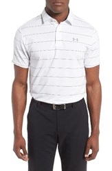 Under Armour Men's 'Playoff' Short Sleeve Polo White Academy Steel