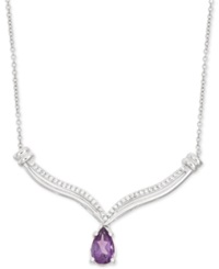 Macy's Amethyst 1 2 Ct. T.W. And Diamond 1 10 Ct. T.W. Pendant Necklace In Sterling Silver Purple