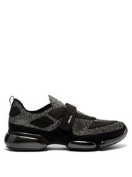 Prada Cloudbust Glitter Low Top Mesh Sneakers Silver