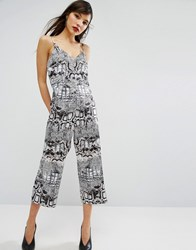 Asos Satin Jumpsuit In Snake Print Multi