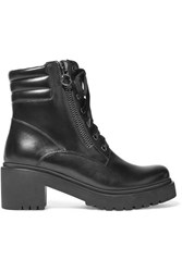 Moncler Viviane Leather Ankle Boots Black