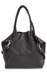 Street Level Junior Women's Slouchy Faux Leather Tote With Pouch Black