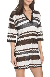 Muche Et Muchette V Neck Cover Up Tunic Black And White