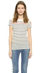 Vince Breton Stripe Little Boy Tee Off White Coastal Tomato