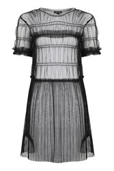 Topshop Tall Tulle Ruched Tunic Black