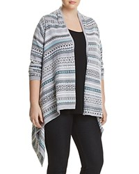 Foxcroft Plus Fair Isle Open Front Cardigan Silver