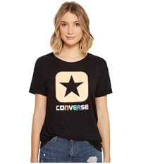Converse Embroidered Box Star Easy Crew Tee Black Women's T Shirt
