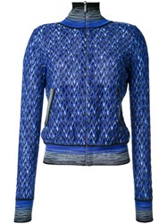 Missoni Pattern Zipped Cardigan Blue