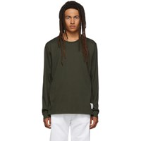 Thom Browne Green Side Slit Relaxed Fit Long Sleeve T Shirt