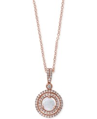 Effy Collection Effy Opal 2 5 Ct. T.W. And Diamond 1 4 Ct. T.W. Circle Pendant Necklace In 14K Rose Gold White