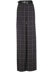 Sally Lapointe Check Print Flared Trousers Black