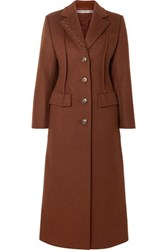 Alexander Wang Embroidered Wool Blend Felt Coat Brown
