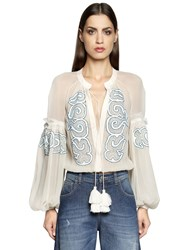 Wandering Embroidered Silk Chiffon Bodysuit