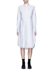 Thom Browne Classic Pleated Bottom Cotton Oxford Shirt Dress White