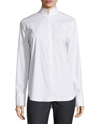 Brunello Cucinelli Poplin Stand Collar Long Sleeve Blouse White