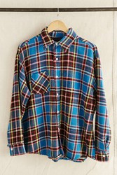Urban Renewal Vintage Bright Blue Plaid Flannel Shirt Assorted