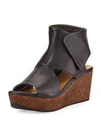 Mind Cutout Cork Wedge Bootie Coclico Black