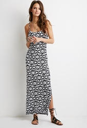 Forever 21 Abstract Tribal Print Maxi Dress Black White
