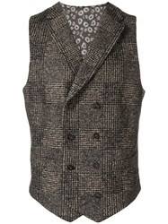 Manuel Ritz Checked Waistcoat Nude And Neutrals