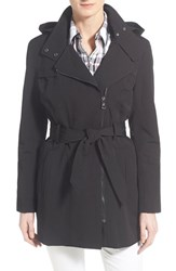 Women's Vince Camuto Belted Asymmetrical Zip Trench Coat Black