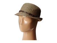 Tommy Bahama Paper Braid Fedora With Knotted Trim Brown Black Fedora Hats