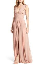 Monique Lhuillier Bridesmaids Women's Deep V Neck Ruffle Pleat Chiffon Gown