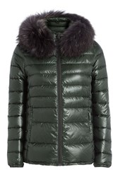 Duvetica Down Jacket With Fur Trimmed Hood Green