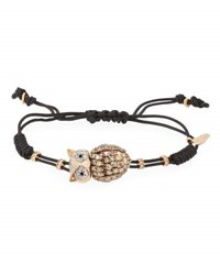 Pippo Perez Pull Cord Bracelet With Brown Diamond Owl In 18K Gold