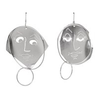 J.W.Anderson Jw Anderson Silver Moon Face Earrings