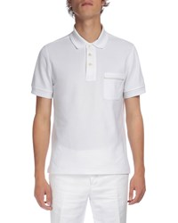Berluti Polo With Leather Detail White Optical Wh