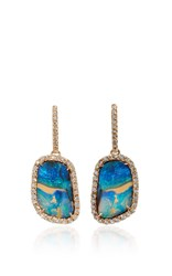 Kimberly Mcdonald Boulder Opal Drop Earrings With Diamond Bezel And Stem Blue