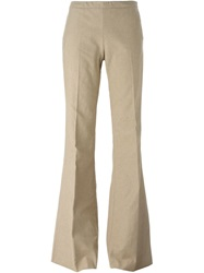 Giamba Flared Trousers Nude And Neutrals