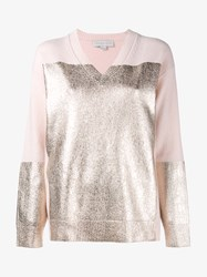 Stella Mccartney Foiled Cashmere And Wool Knit Pink White