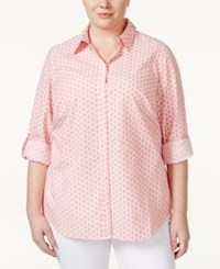 Charter Club Plus Size Button Front Printed Shirt Only At Macy's