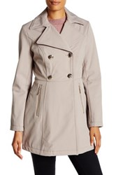 Kenneth Cole Double Breasted Soft Shell Jacket Beige