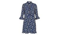 Whistles Bell Flower Print Shirt Dress Blue Multi