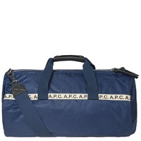 A.P.C. Maybellene Tape Logo Gym Bag Blue