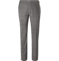 Tom Ford Grey Slim Fit Prince Of Wales Checked Stretch Wool Suit Trousers Gray
